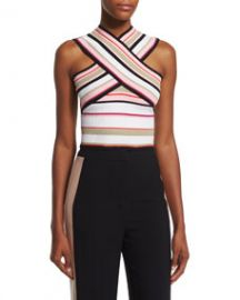 MSGM Striped Ribbed Cross-Front Top Multicolor at Neiman Marcus