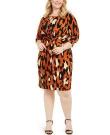 MSK Plus Size Leopard-Print Tie-Front Dress   Reviews - Dresses - Plus Sizes - Macy s at Macys