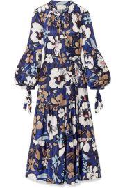 MUNTHE - Hilda ruffled floral-print satin wrap dress at Net A Porter