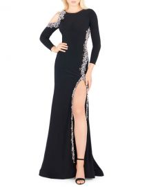 Mac Duggal Bracelet-Sleeve Embellished Jersey Gown with Asymmetrical Slit at Neiman Marcus