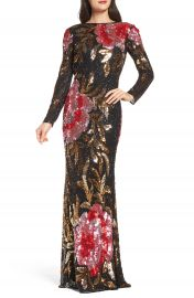 Mac Duggal Drape Back Floral Sequin Gown at Nordstrom