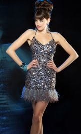 Mac Duggal Evening Sequin Cocktail Dress with Feathers at French Novelty