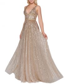 Mac Duggal Horizontal Sequined V-Neck A-Line Gown at Neiman Marcus