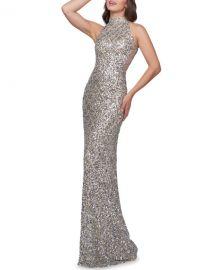 Mac Duggal Scallop Sequin High-Neck Sleeveless Column Gown at Neiman Marcus