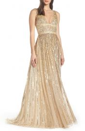 Mac Duggal Sequin Stripe Gown at Nordstrom