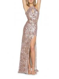 Mac Duggal Sequined Bodycon Halter Gown at Lord & Taylor