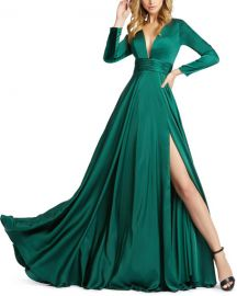 Mac Duggal V-Neck Long-Sleeve Satin Thigh-Slit Gown at Neiman Marcus