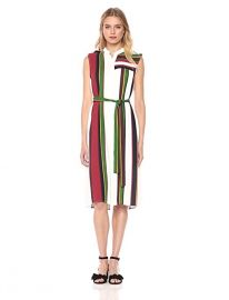 Madalyn Woven Striped Tunic Dress with Tie Front by BCBGMAXAZRIA at Amazon