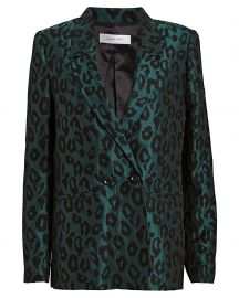 Madeleine Emerald Leopard Jacquard Blazer by Anine Bing at Intermix