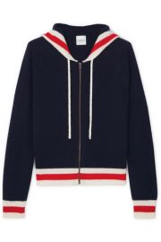 Madeleine Thompson - Aqua striped cashmere hoodie at Net A Porter