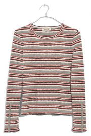 Madewel Elsie Stripe Button Sleeve Tee at Nordstrom Rack