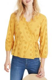 Madewell Scalloped Eyelet Wrap Top  Regular  amp  Plus Size    Nordstrom at Nordstrom