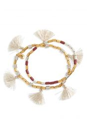 Madewell Set of 2 Beaded Tassel Bracelets in Rose at Nordstrom