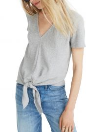 Madewell Texture  amp  Thread V-Neck Modern Tie-Front Top  Regular  amp  Plus    Nordstrom at Nordstrom
