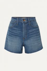 Madewell - The Perfect Vintage frayed denim shorts at Net A Porter