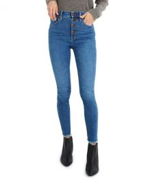 Madewell 10 quot  Rise Skinny Jeans with Button Front at Neiman Marcus