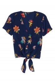 Madewell Bird of Paradise Tie Front Silk Top   Nordstrom at Nordstrom