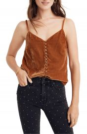 Madewell Button Down Velvet Camisole at Nordstrom