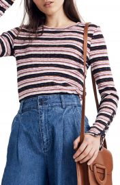 Madewell Elsie Stripe Button Sleeve Tee   Nordstrom at Nordstrom