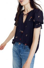 Madewell Embroidered Zephyr Ruffle Sleeve Top at Nordstrom