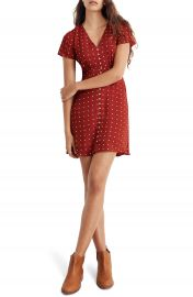 Madewell Grid Dot Button Front Swing Dress   Nordstrom at Nordstrom