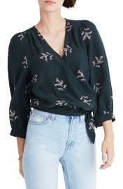 Madewell Poppy Print Silk Wrap Blouse at Nordstrom