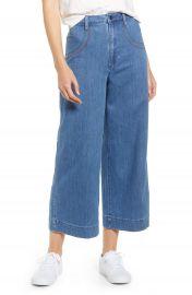 Madewell Rainbow Stitched Emmett Wide Leg Crop Jeans  Rainbow Indigo Wash    Nordstrom at Nordstrom