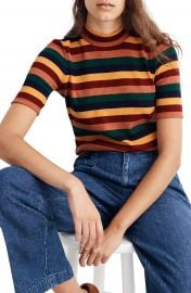 Madewell Rainbow Stripe Ribbed Mock Neck Top   Nordstrom at Nordstrom