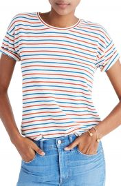 Madewell Whisper Cotton Stripe Crewneck Tee   Nordstrom at Nordstrom
