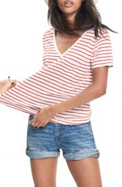 Madewell Whisper Cotton Stripe V-Neck Tee at Nordstrom