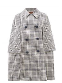 Madras wool-blend cape at Matches