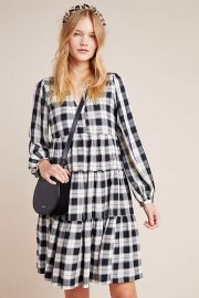 Maeve Amber Plaid Tiered Tunic at Anthropologie