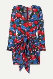 Magda Butrym - Lesina knotted floral-print silk-jacquard mini dress at Net A Porter
