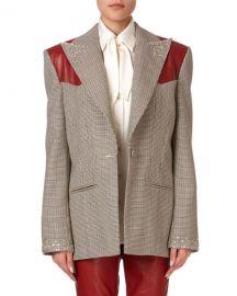 Magda Butrym Arkansas Beaded Plaid Wool Blazer w  Leather Shoulders at Neiman Marcus