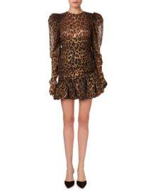 Magda Butrym Borneo Gathered Animal-Print Flounce Mini Dress at Neiman Marcus