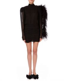 Magda Butrym Dubai Feather-Shoulder Open-Back Mini Dress at Neiman Marcus