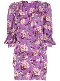Magda Butrym Faro Floral Print button-down Peasant Sleeve Silk Mini Dress - Farfetch at Farfetch