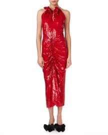 Magda Butrym Hilo Ruched Sequin Halter Midi Dress at Neiman Marcus