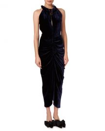 Magda Butrym Hilo Ruched Velvet Halter Midi Dress at Neiman Marcus