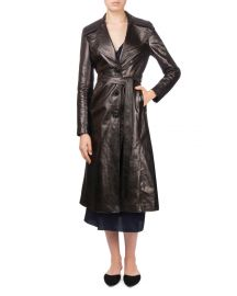 Magda Butrym Indiana Button-Front Belted Leather Trench Coat at Neiman Marcus