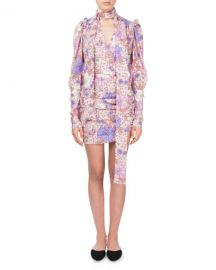 Magda Butrym Kartagena Long-Sleeve Floral-Print Ruched Silk Dress at Neiman Marcus
