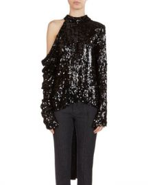 Magda Butrym Oxford Sequined Cold-Shoulder Top at Neiman Marcus