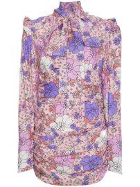 Magda Butrym Silk Neck Tie Floral Mini Dress at Farfetch
