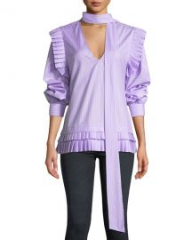Maggie Marilyn I  x27 ll Catch You If You Fall Pinstripe Pleated Top at Neiman Marcus