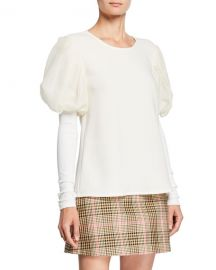 Maggie Marilyn It  x27 s A New Day Puffed-Sleeve Gauze Trimmed Crepe Top at Neiman Marcus