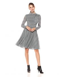 Maggy London Plaid Chiffon Fit and Flare at Amazon