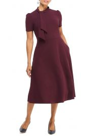 Maggy London Tie Neck A-Line Midi Dress   Nordstrom at Nordstrom