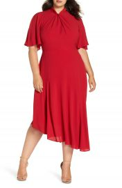 Maggy London Asymmetrical Midi Dress  Plus Size at Nordstrom