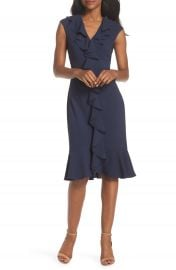 Maggy London Crepe Ruffle Front Sheath Dress  Regular  amp  Petite    Nordstrom at Nordstrom