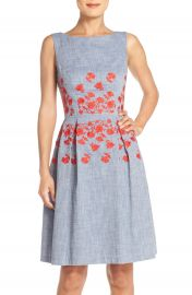 Maggy London Embroidered Chambray Fit  amp  Flare Dress   Nordstrom at Nordstrom